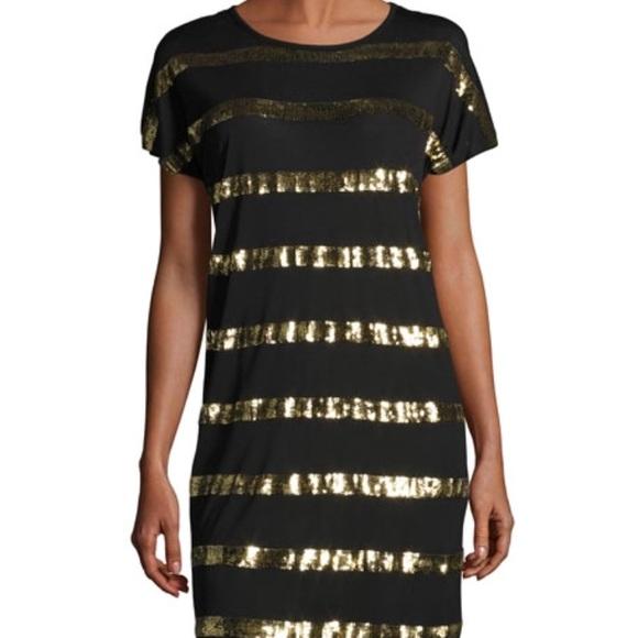 26987791d52 Michael Kors Gold Sequin Striped Tee Shirt Dress L